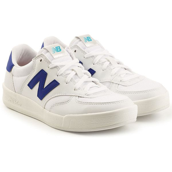 New Balance 300 REVLite Sneakers ($83) ❤ liked on Polyvore featuring shoes, sneakers, white, tennis shoes, leather trainers, white trainers, white leather shoes and new balance shoes