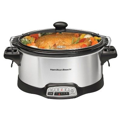 Hamilton Beach Programmable Stay or Go 6 Quart Slow Cooker, Stainless - 33466, Silver Gray