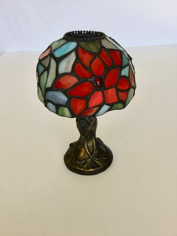 Tiffany Style Stained Glass Candle Holder Lamp Tea Light Red