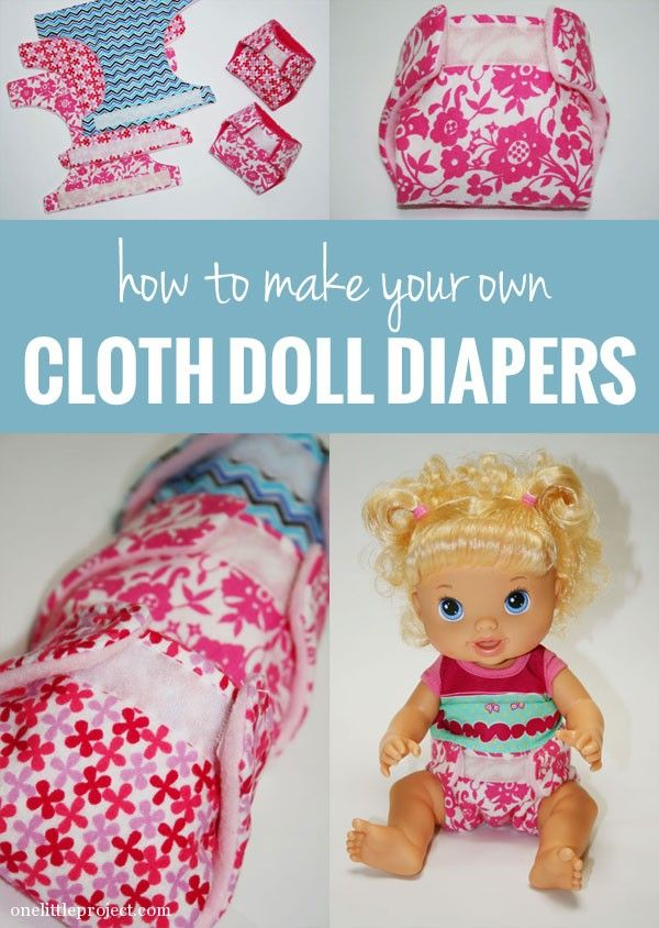 Tutorial for how to make cloth diapers for a baby doll | onelittleproject.com