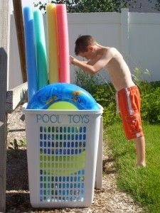 Pool Toy Storage.  ... I'd drill holes into the bottom.