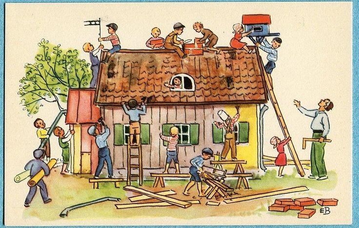 X5467 Elsa Beskow Postcard House Building 35 Jerr Peters Stuga   eBay