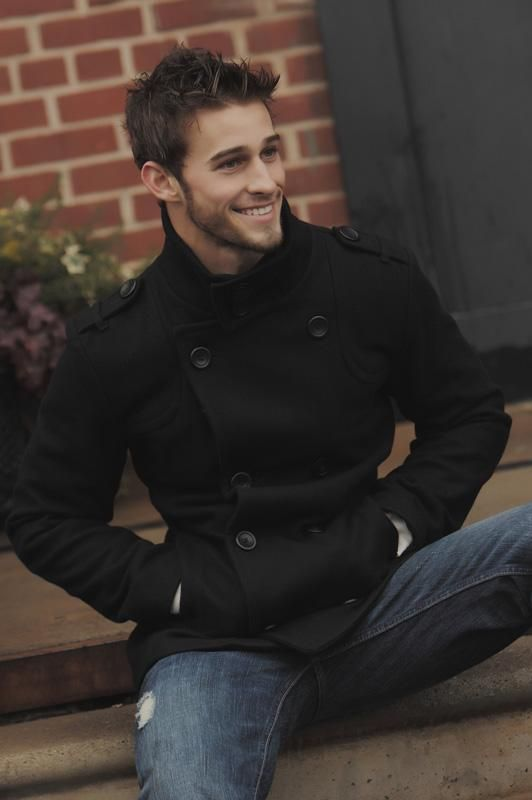 Pea coat and jeans. Classic casual wear.