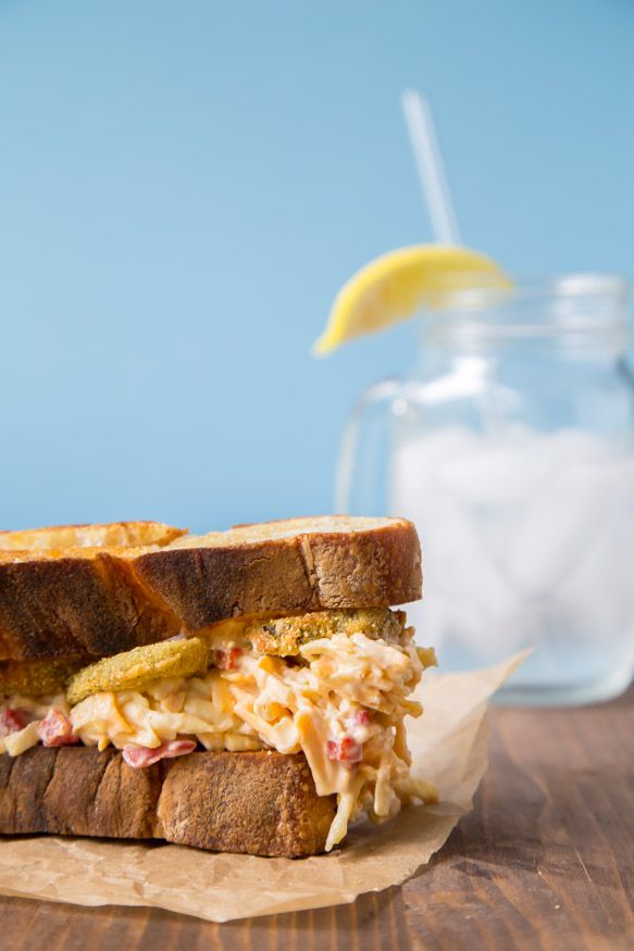 Can't even deal with how delicious this sounds!  Pimiento Cheese and Fried Pickle Sandwich | dessertfortwo.com