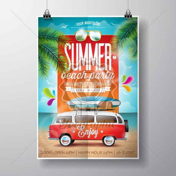 Vector Summer Beach Party Flyer Design with travel van and surf board on ocean landscape background. - Royalty Free Vector Illustration