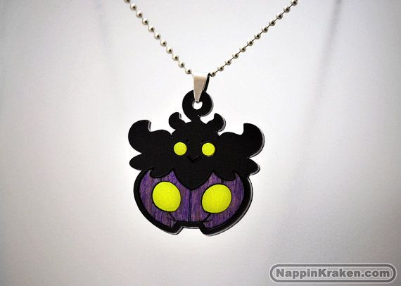 Shiny Pumpkaboo Pokemon X Y Acrylic Wood Necklace by NappinKraken