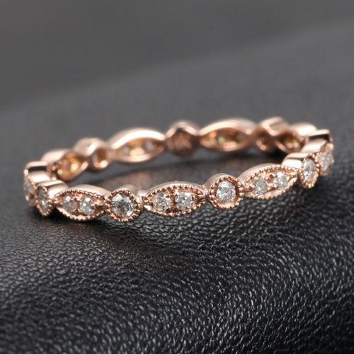 Art Deco Antique Style .32ctw Diamonds Milgrain 14K Rose Gold Wedding Band Ring