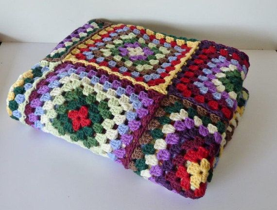 Crochet Patterns Knee Rugs : Multi Coloured Granny Square Afghan Knee Rug by IvysTreasures, $120.00
