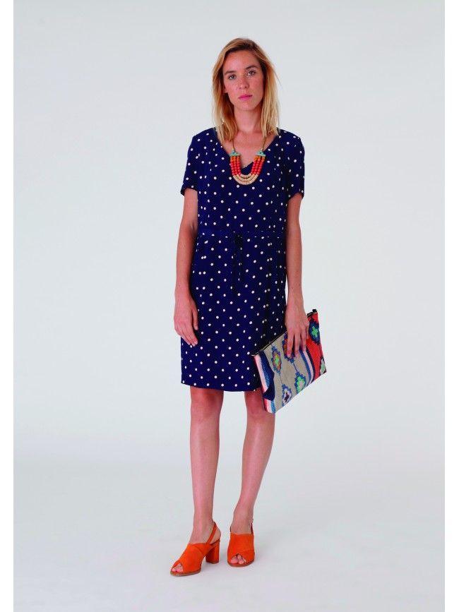 #Vestido corto midi manga corta con doble lunares. Colección Nice Things primavera verano 2016 #Fashion #Moda #Dress #Vestidos