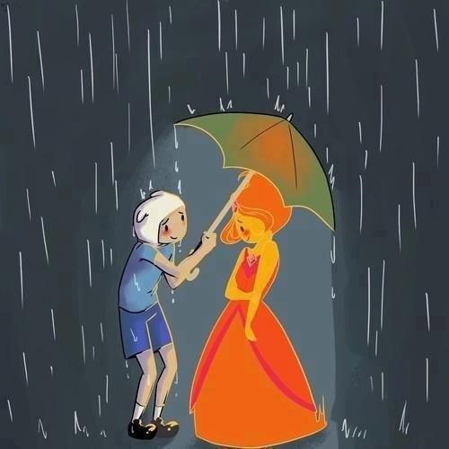 Finn holding an umbrella over Flame Princess... So cute.