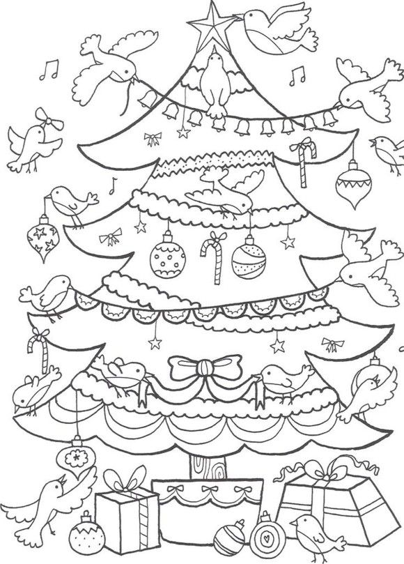 Birds Decorating Christmas Tree Coloring Page