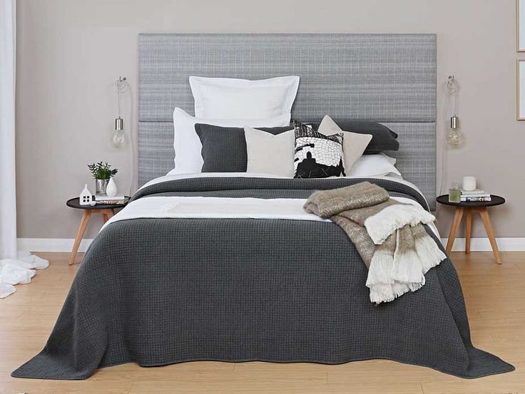 2 x California King CoverQuick Headboards -Sleep easy with modern charcoal hues and the vintage washed Havana bedspread