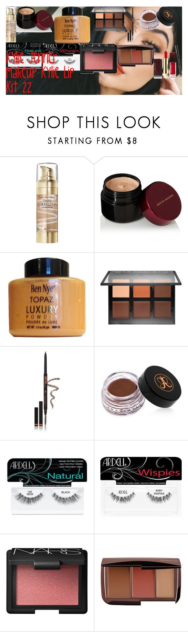 """Kylie Jenner Makeup ♡ Kylie Lip Kit 22 ♡"" by oroartye-1 on Polyvore featuring beauty, Max Factor, Kevyn Aucoin, Anastasia Beverly Hills, Ardell, NARS Cosmetics and Hourglass Cosmetics"
