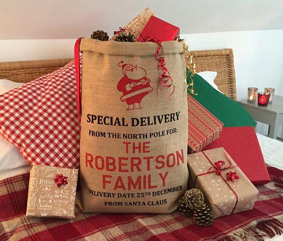Personalised Gift Bag - Hand Screen Printed - Santa Design - Christmas Stocking