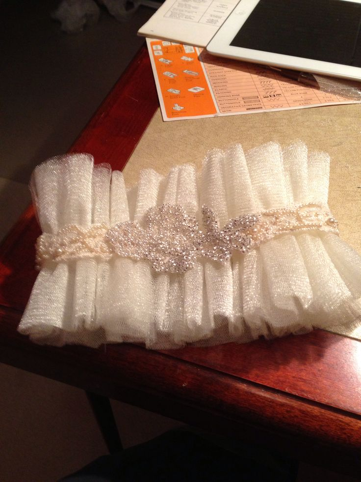 I made my daughter-in-laws keepsake garter from a piece of my moms wedding dress that I beaded to make a appliqué (in the center). Then I used a piece of her grandmothers dress as the band around the garter. A perfect  blend of something old and something new. I suppose you could add a borrowed and blue if you got a little more creative:)