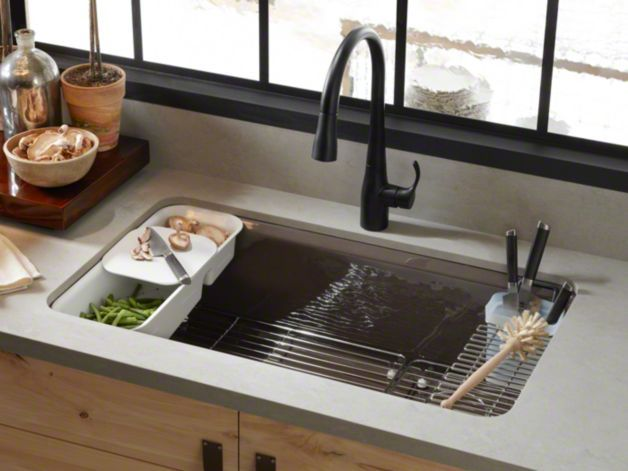 KOHLER Riverby Under-Mount Kitchen Sink with Accessories Love the accessories.