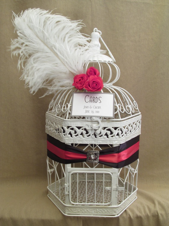 Art Deco Wedding Card Box / Ostrich Feather / Valentines Inspired / Bird Cage Card Holder. $65.00, via Etsy.