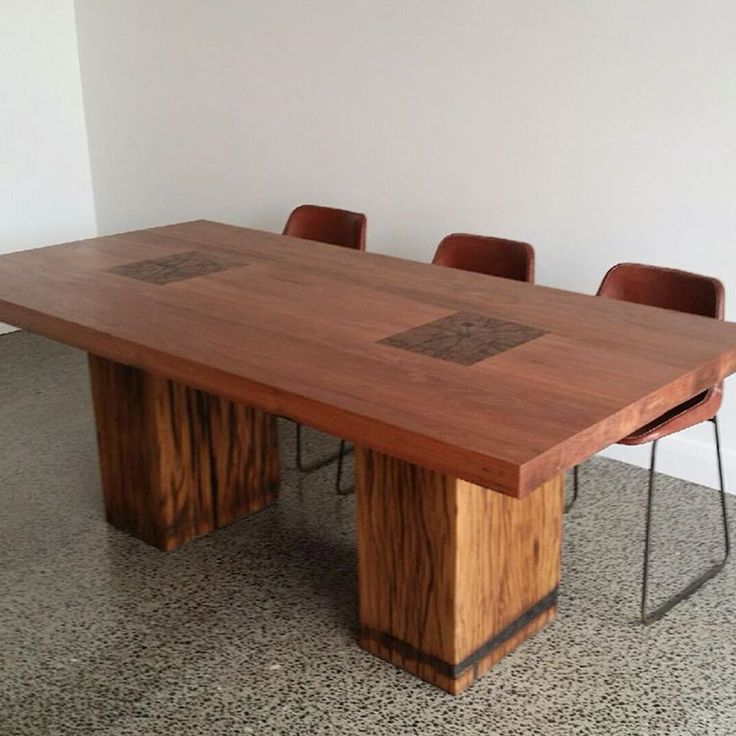 Recycled timber table made from reclaimed Victorian hardwood timber. Amazing feature and 60mm thick table top. Timber Revival, Melbourne, Victoria, Australia.