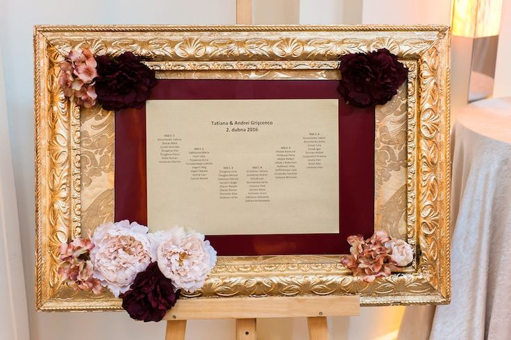 Guest list in golden frame