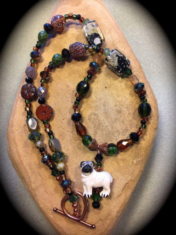 CERAMIC PUG BEADED Necklace-Peruvian Handmade by WhimsicalMystical