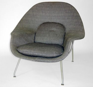 Womb Chair By Eero Saarinen C The Clic Originally Designed Saarinan In 1948 For Knoll Upholstered Gray And White Raw Linen