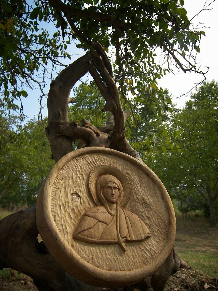 ΞΥΛΟΓΛΥΠΤΙΚΗ WOOD CARVING резьба по дереву Λυδιανός: Παναγιά η Αθωνιτισσα. ξύλο σφεντάμι.