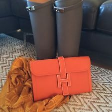 Hermes Jige Clutch Bag Orange Epsom Rare GM Size 29cm by 19cm Q ...