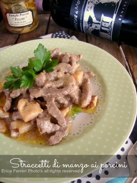 Braised beef with mushrooms - Straccetti di manzo ai funghi porcini