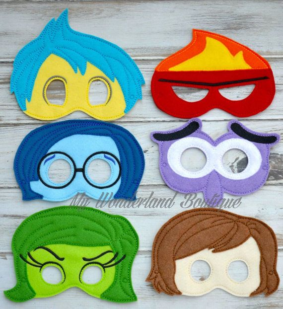 Inside out inspired mask Made with felt Attaches with elastic for easy on and off Perfect for party favors or just for everyday fun! If