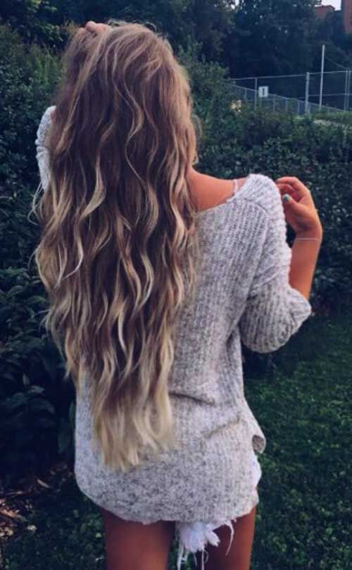 Wavy Long Dark-Blonde Hair with Light-Blonde Balayage and Layers