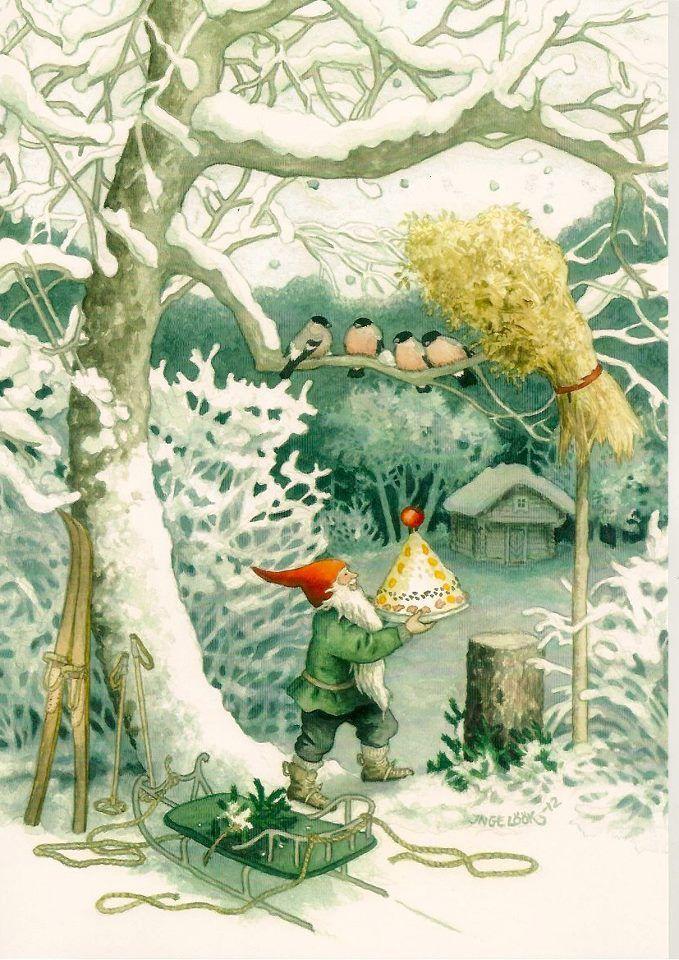 little helper elf, feeding forest birds художница Inge Löök