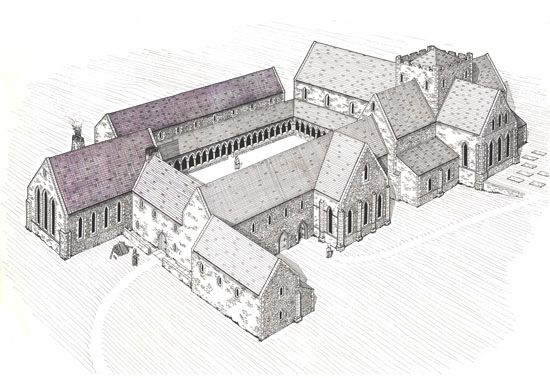 Reconstruction drawing of Grey Abbey County Down. So interesting.