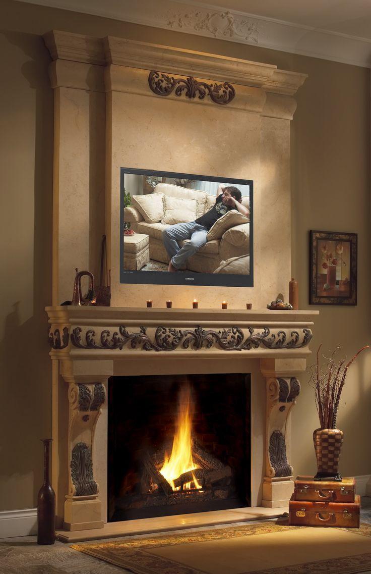 Cast stone fireplace mantel overmantel regal electric