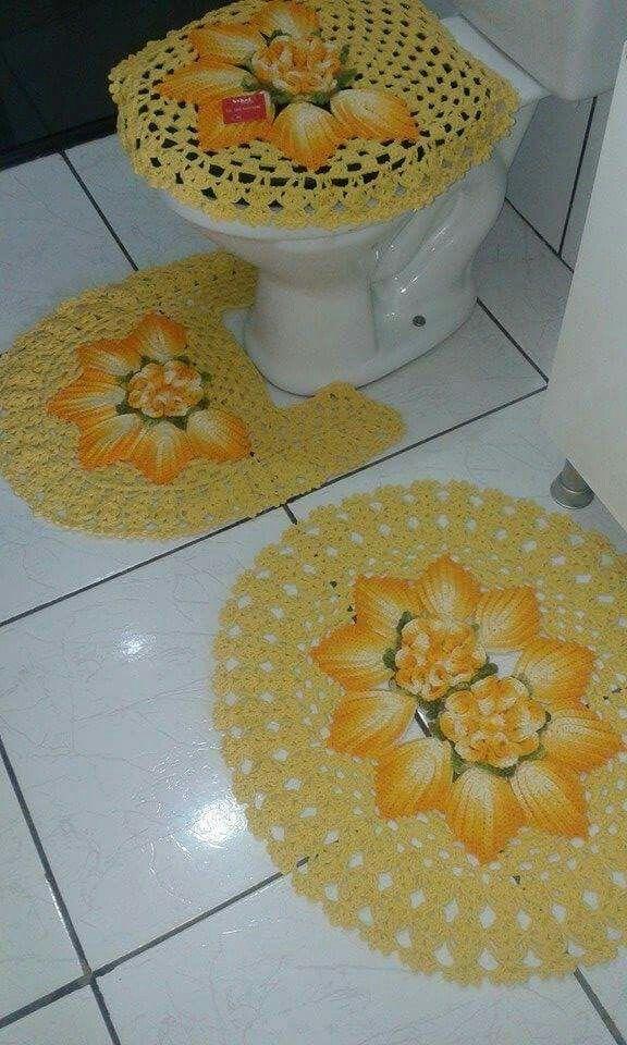 Jogo de banheiro | amarelo| croche | barbante | com flores
