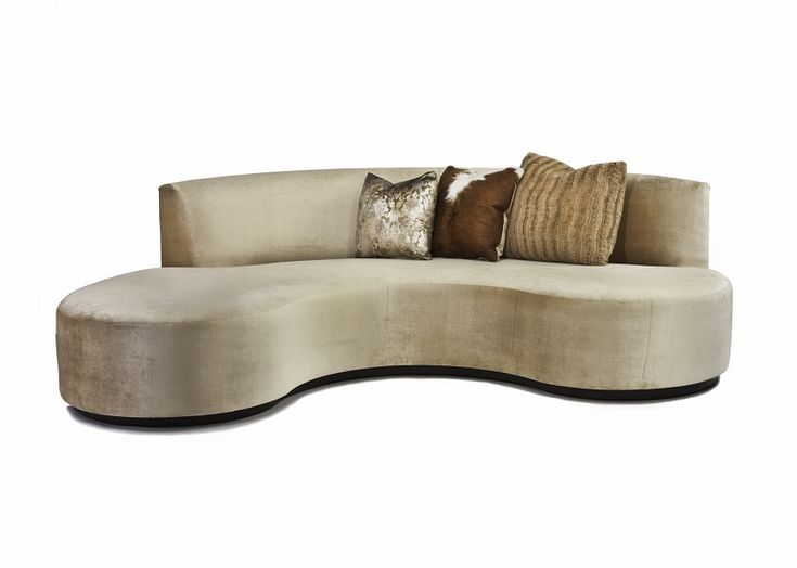 This Upholstered Crescent Sofa Features Maple Wood Base, 3 Accent Pillows