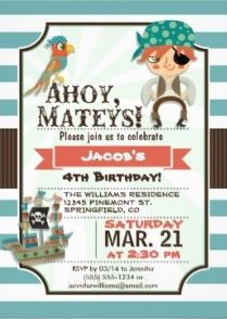 49 best pirate birthday invitations images on pinterest pirate pirate parrot and pirate ship birthday invitation for boys filmwisefo Images