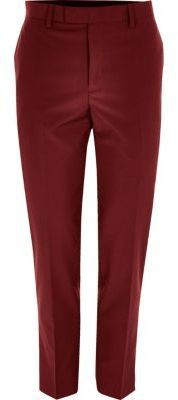 River Island Mens Red skinny fit suit pants