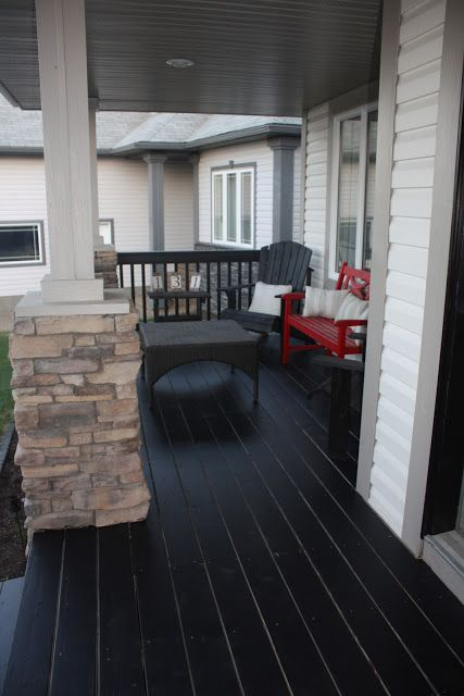 Front Porch Makeover - I have been considering painting our front porch floor black.