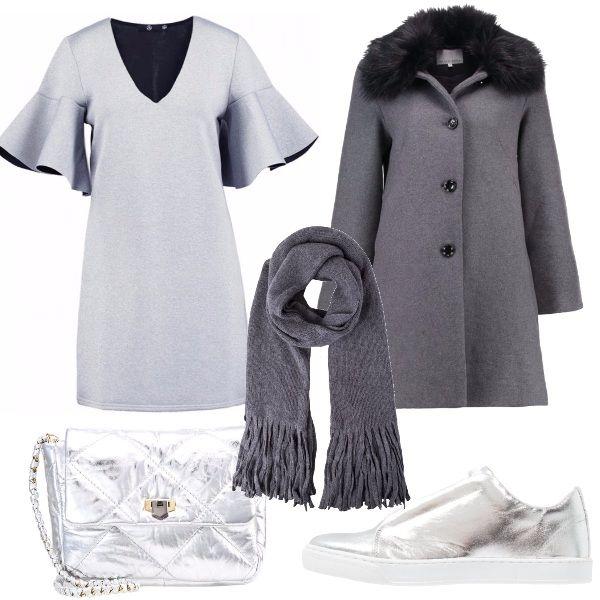 Delizioso vestito grigio chiaro con maniche con rouches, cappottino grigio scuro con collo in pelliccia, sciarpa grigio scura, sneakers argento e tracollina argento. Un outift grintoso adatto alle più giovani!