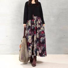 ZANZEA wanita kasual elegan model gaun panjang longgar