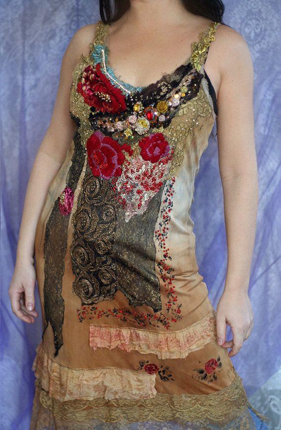 Farruca bohemian romantic slip dress with antique by FleurBonheur
