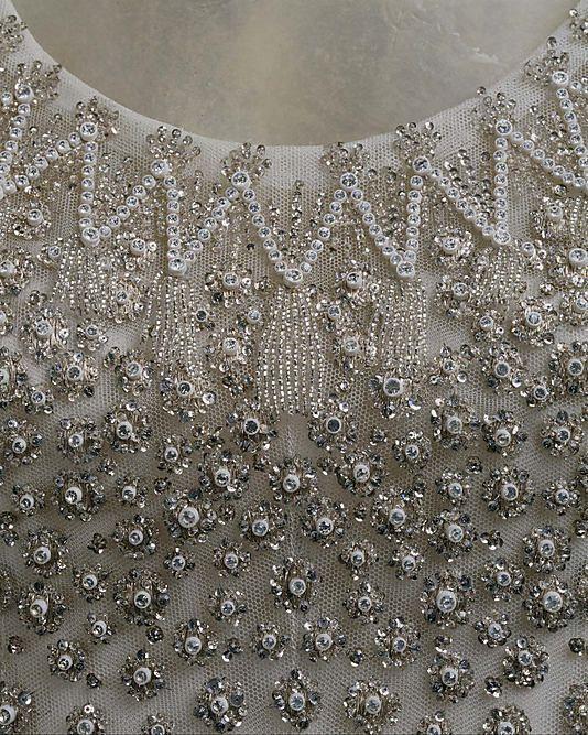 """L'Eléphant Blanc"" by Yves Saint Laurent, 1958. Silk, metallic thread, glass, plastic. Neck detail."