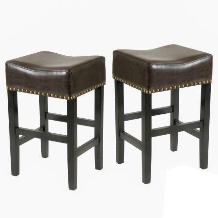 Noble House Logan Brown Backless Bonded Leather Bar Stool (Set of 2)