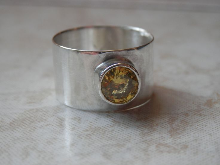 Bague de Topaze jaune champagne Facettée forme diamant anneau large Argent Massif : Bague par indigual