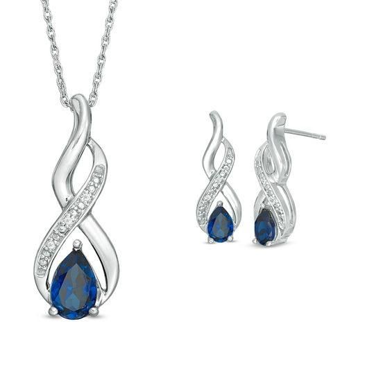 Zales Pear-Shaped Lab-Created White Sapphire and 1/10 CT. T.w. Diamond Frame Drop Pendant and Earrings Set in Sterling Silver R0s7kFDMfA
