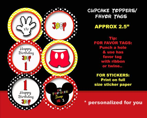Mickey Mouse cupcake topper Mickey Mouse by blueangeldigitals