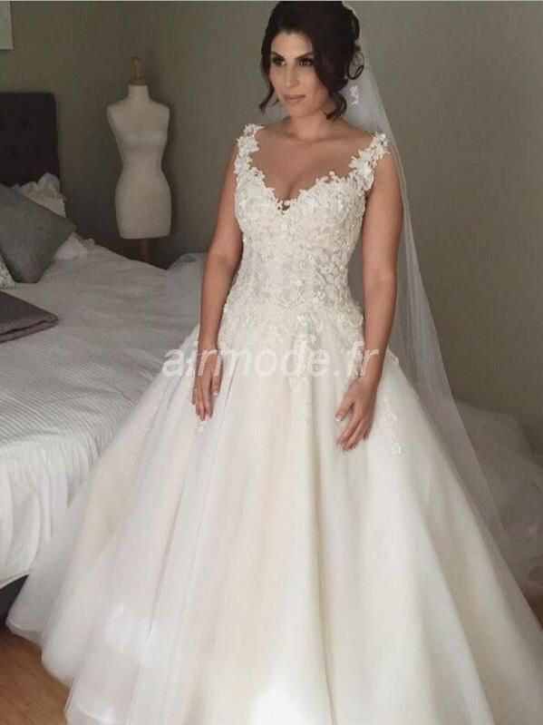 fournitures de airmode.frcour toutes tailles longue robe de bal natural - tulle robe printemps Robe de Mariée Grande Taille