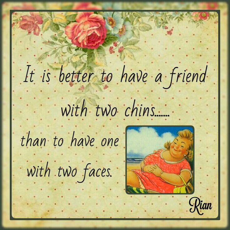 It is better to have a friend with two chins....than to have one with two faces. / riandesign