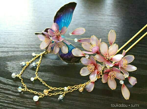 灯花堂☆ 簪・桜と青い蝶々のかんざしセット『咲舞・sakimai』髪飾り・入学式_画像1