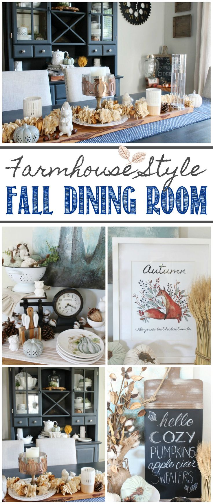 Beautiful fall dining room home tour in muted blues and neutrals.